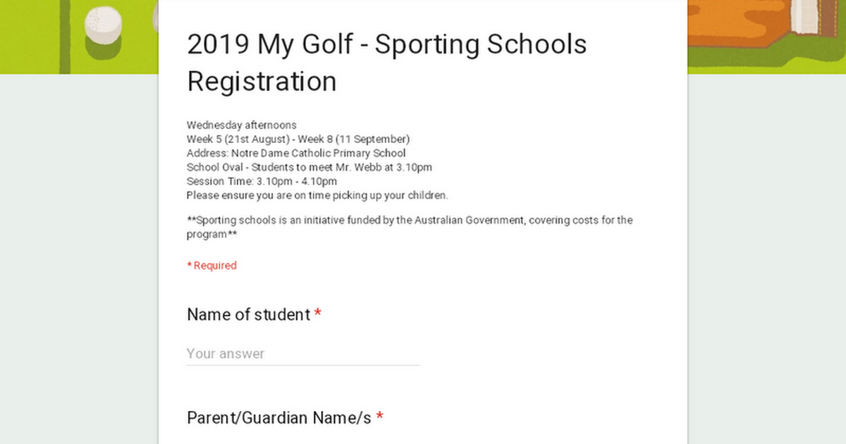 My Golf - Sporting Schools Registration