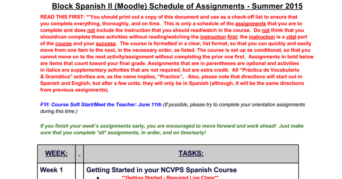 Block Spanish II Schedule of Assignments - Moodle - Summer 2015