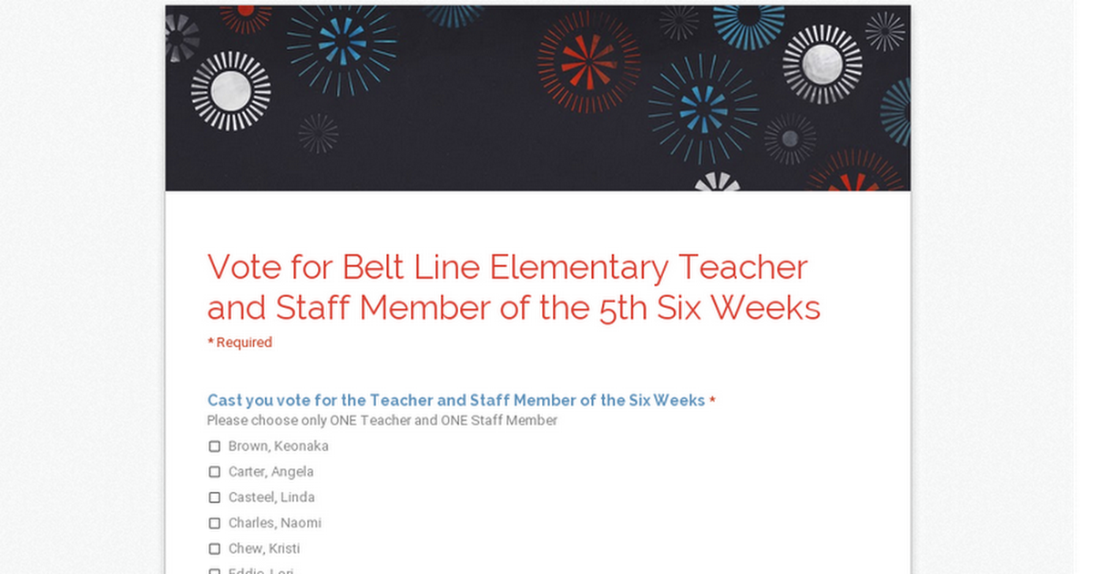 Belt Line Elementary Teacher and Staff Member of the 5th Six Weeks