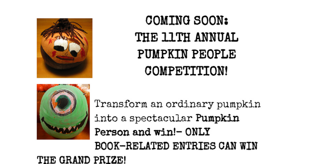 COMING SOON: THE 10TH ANNUAL PUMPKIN PEOPLE COMPETITION