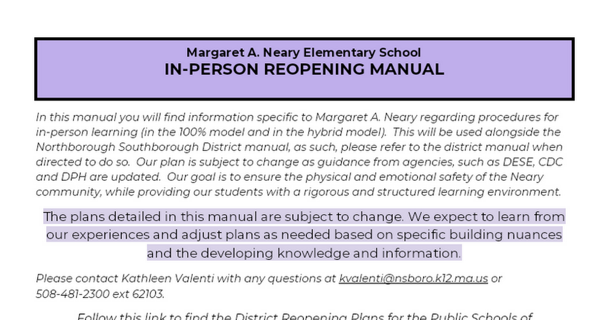 Margaret A. Neary  Reopening Plan 2020-2021  (Update 8-18-2020)
