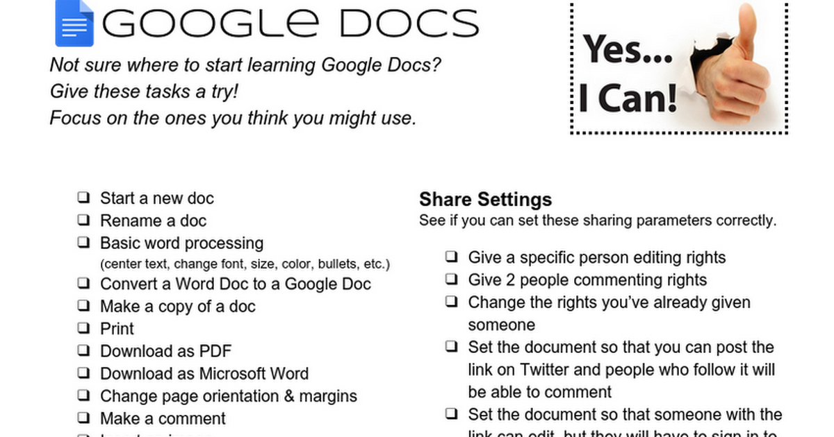 Google Docs - Things To Try Checklist