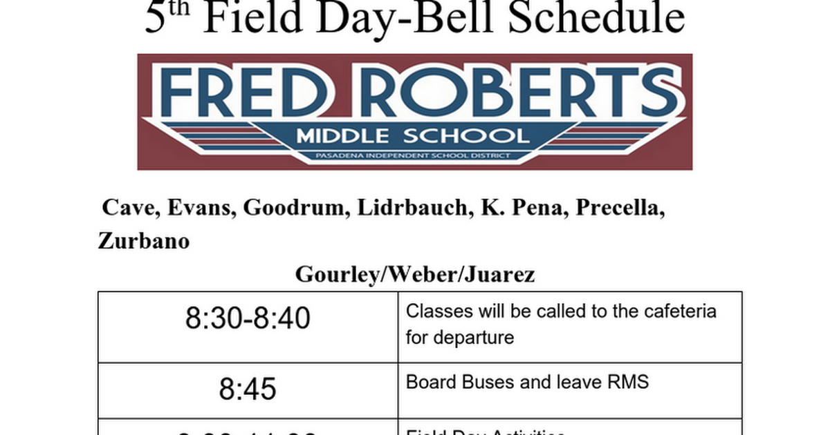 5th Field Day-Bell Schedule