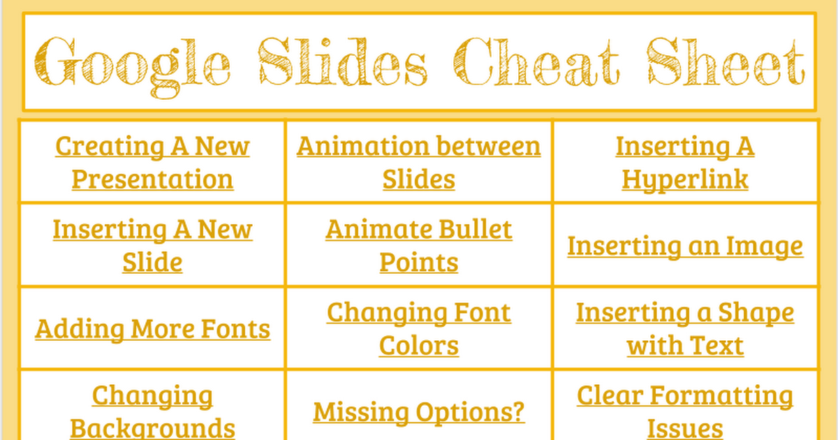 Google Slide Cheat Sheet
