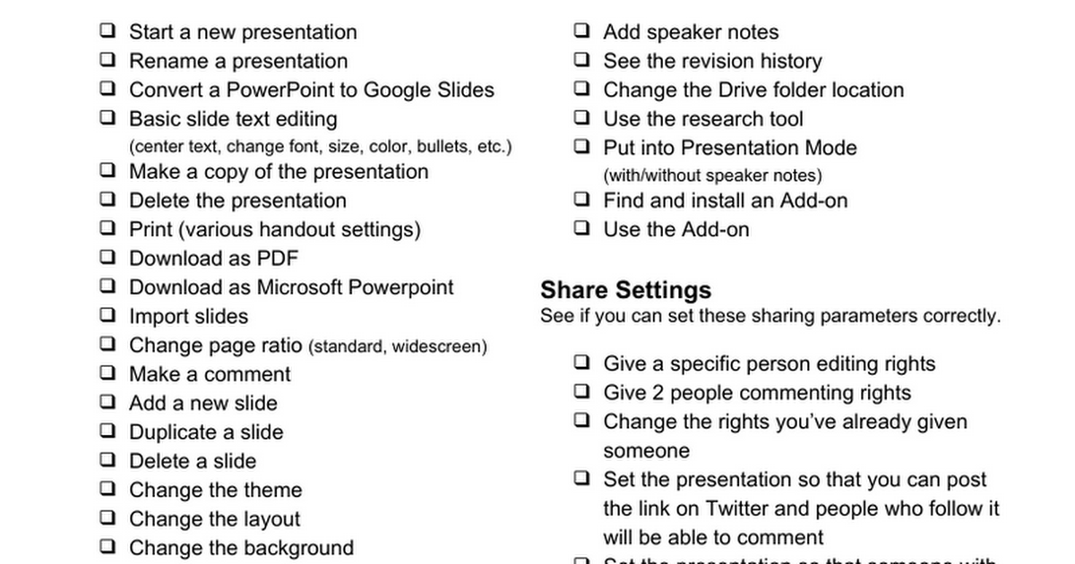 Google Slides - Things To Try Checklist