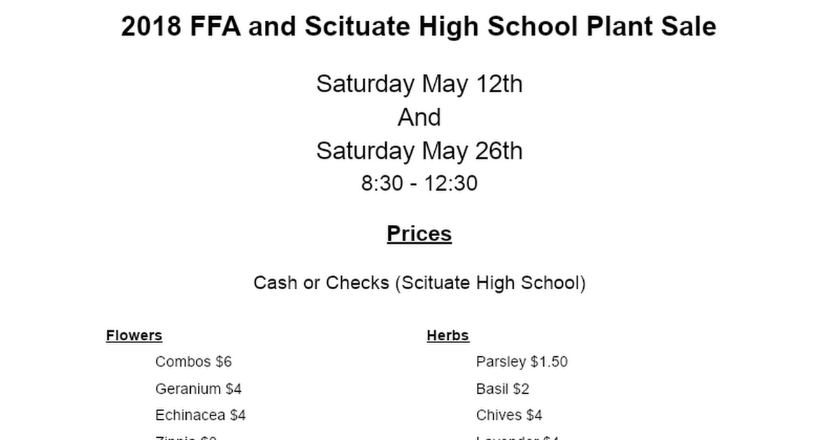 2018 FFA and Scituate High School Plant Sale (1).docx