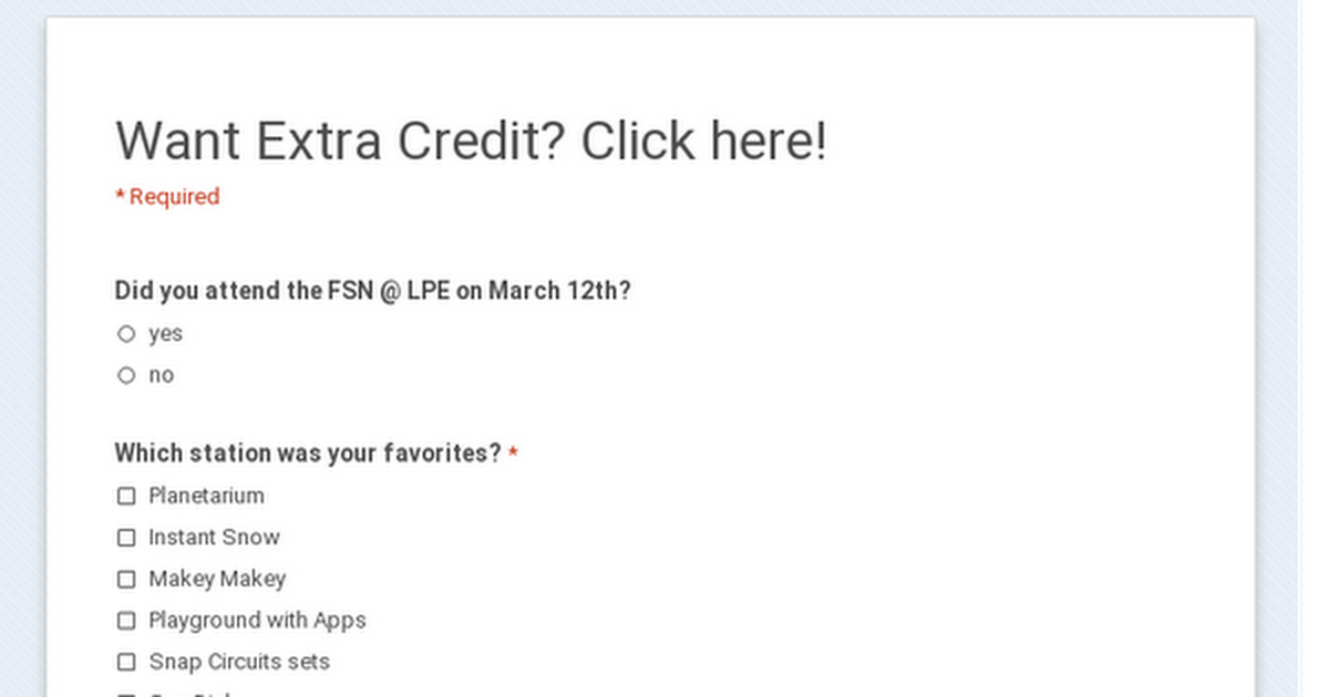 Want Extra Credit?  Click here!
