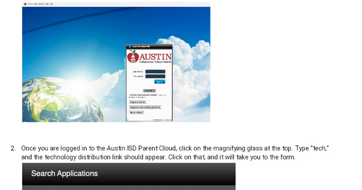Technology Distribution Requests in the Austin ISD Parent Cloud - Steps with Images - English