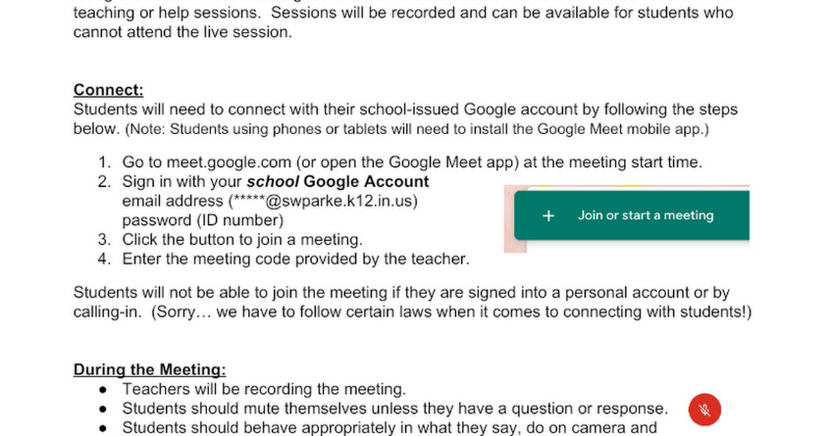SWP Google Meet Guide for Parents and Students