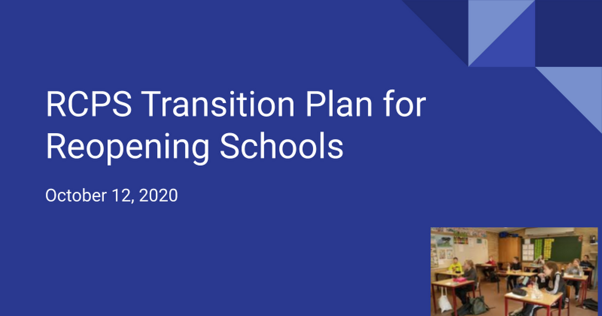 Copy of Transition Plan for Reopening Schools October 12