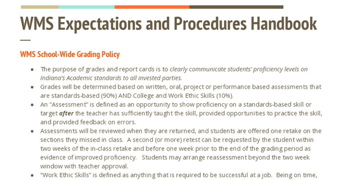 WMS Expectations and Procedures Handbook (Parent Copy)