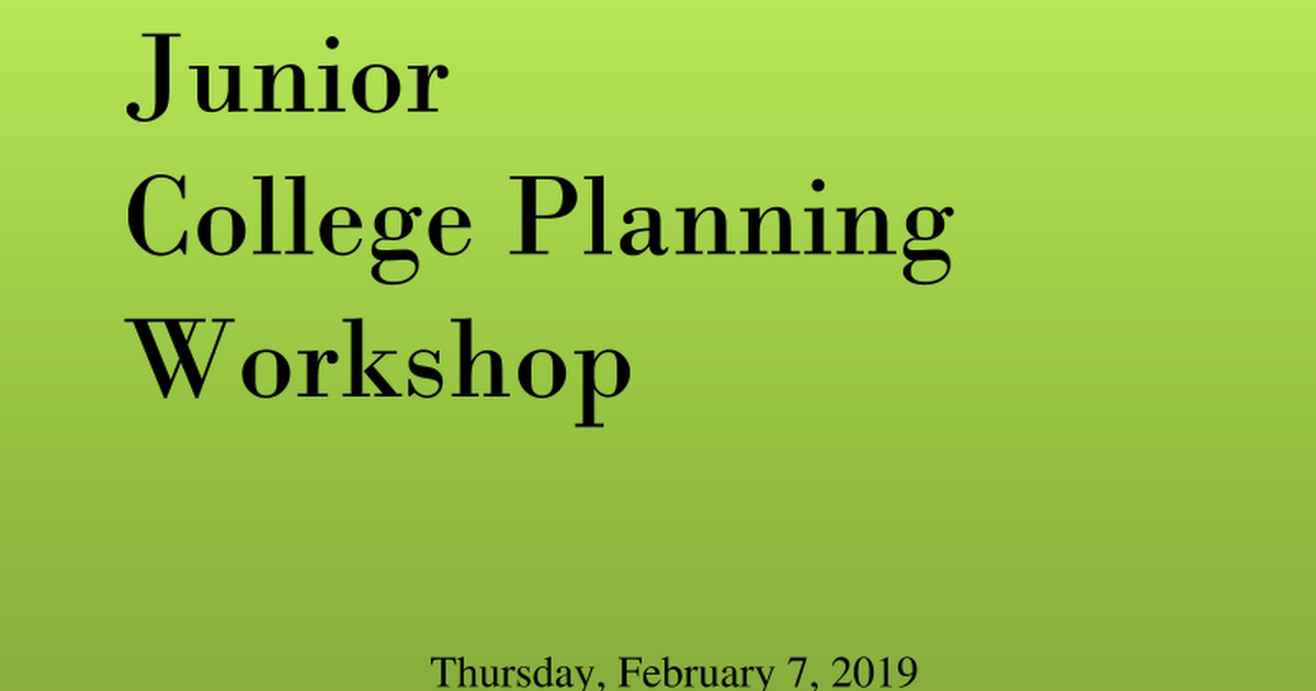 Junior College Planning Night  - February 2019.ppt