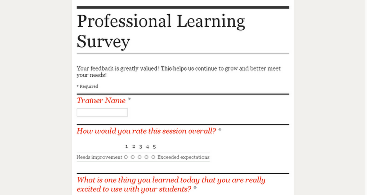 Professional Learning Survey