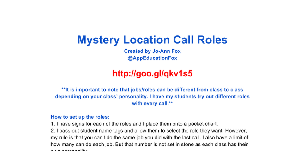 Copy of Mystery Location Call Roles