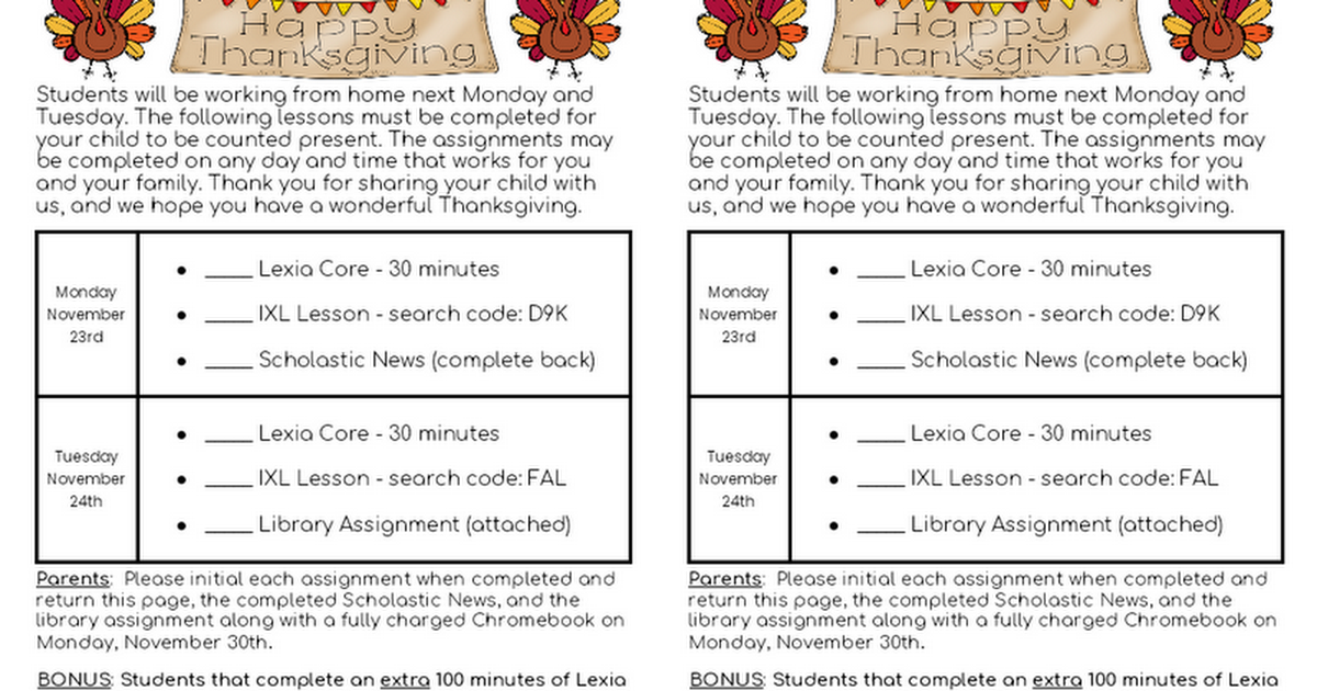 2nd Grade Remote Learning Plans