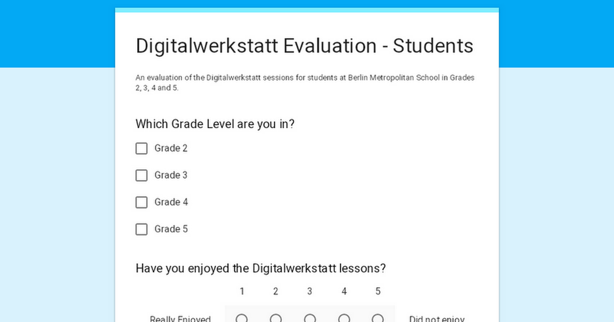 Digitalwerkstatt Evaluation - Students