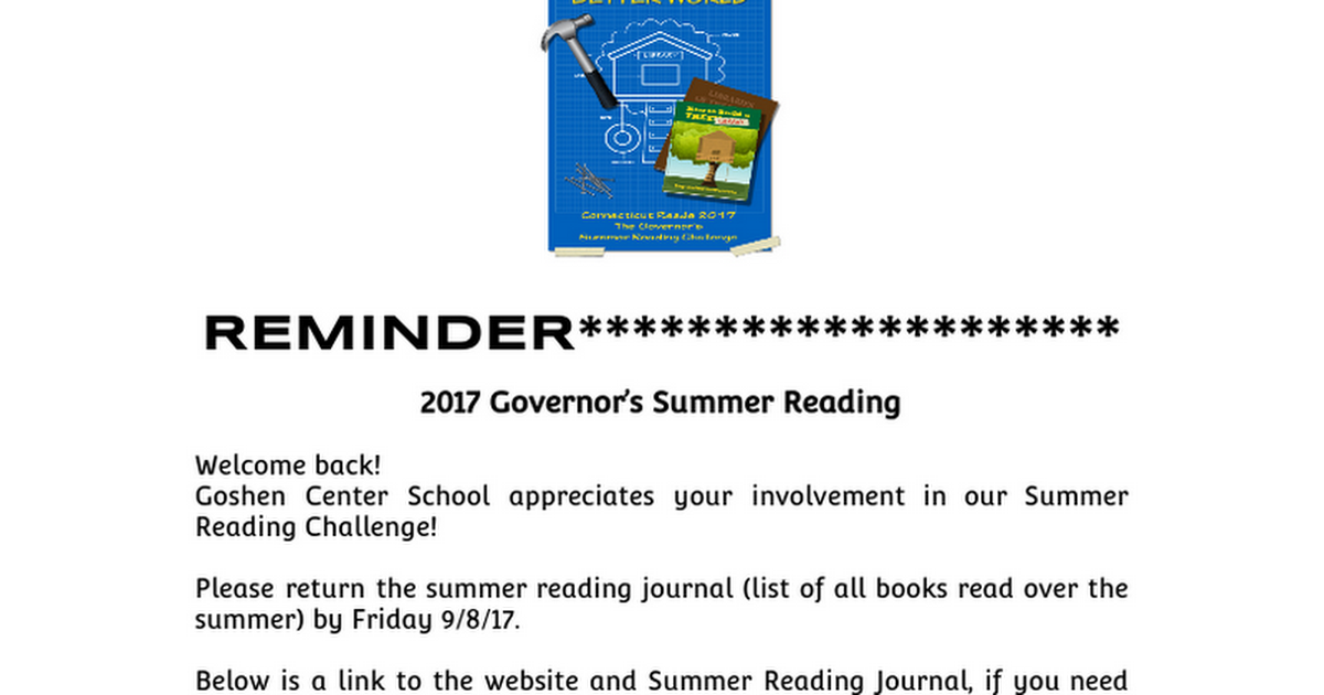 Governor's Summer Reading Challenge e-blast 2017