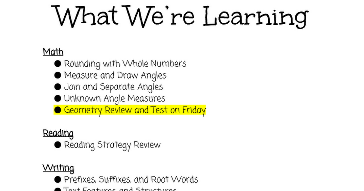 What We're Learning 4/11-4/15