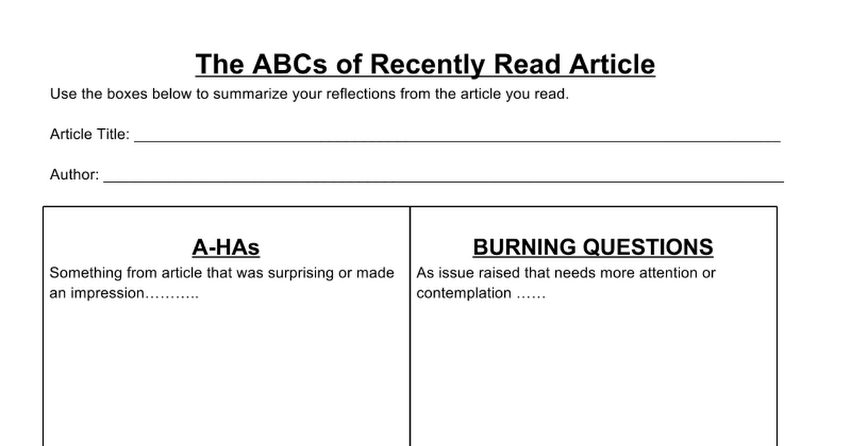The ABCs of Recently Read Article