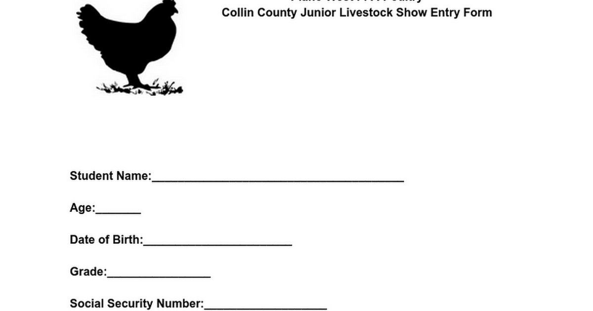Collin County Junior Livestock Show Entry Form-Poultry