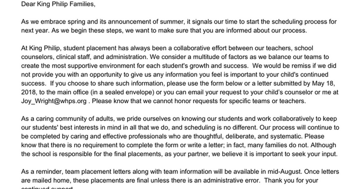 6th Grade Student Placement Information 2016-17