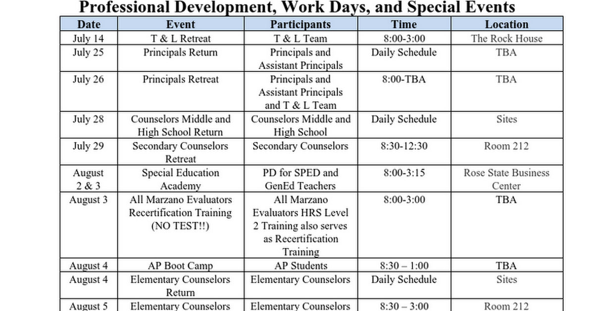 17 Back to School Professional Development Dates