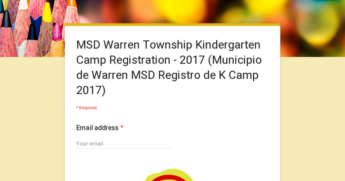 MSD Warren Township Kindergarten Camp Registration - 2017 (Municipio de Warren MSD Registro de K Camp 2017)