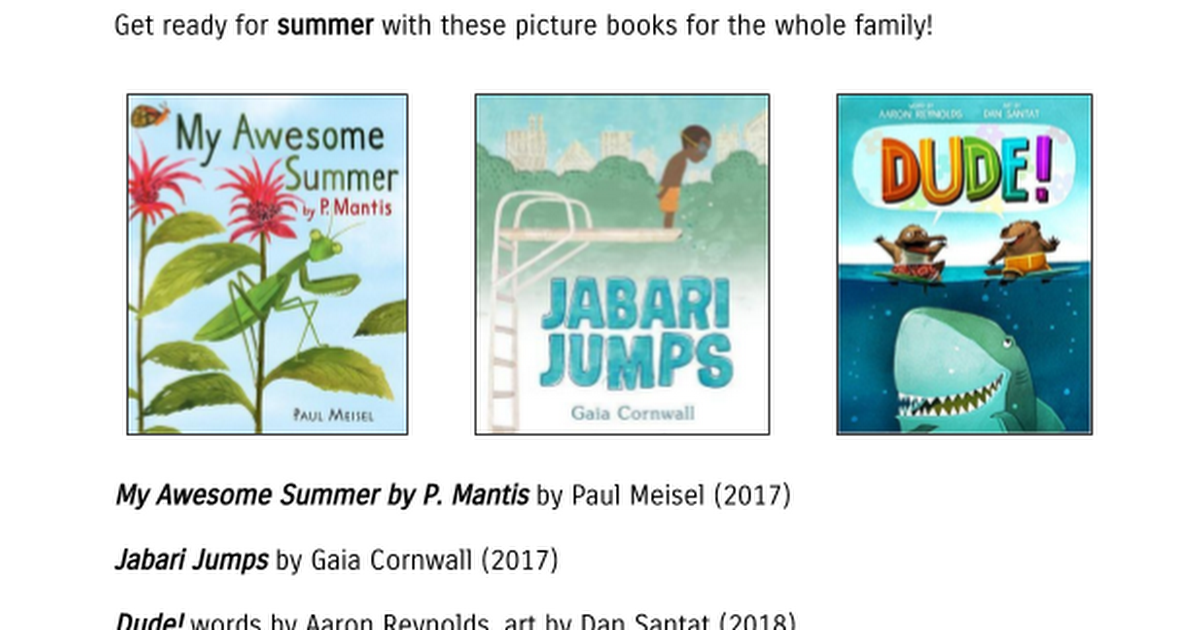 Lower School Summer Reading 2018