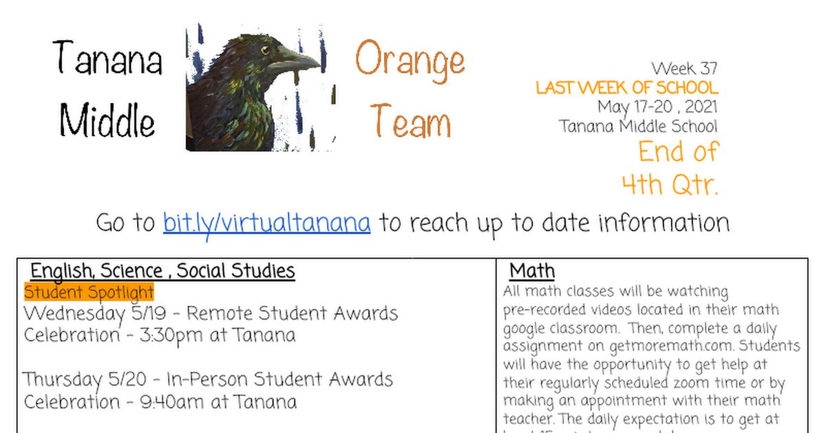 Orange House Newsletter Tanana 2020-21