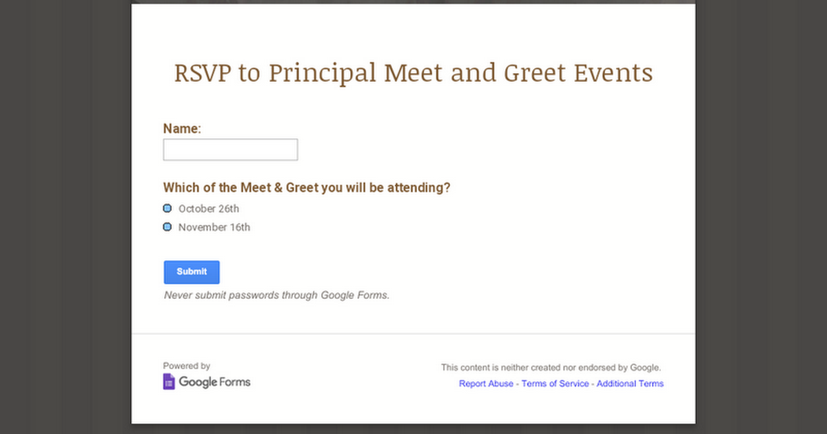 RSVP to Principal Meet and Greet Events