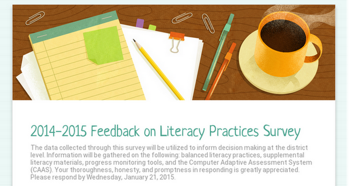 2014-2015 Feedback on Literacy Practices Survey