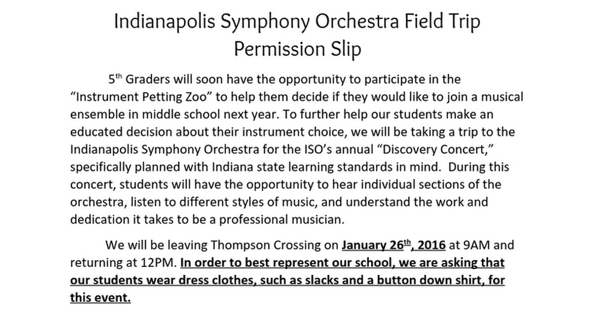 Indianapolis Symphony Orchestra Field Trip Permission Slip