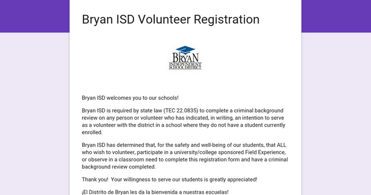 Bryan ISD Volunteer Registration