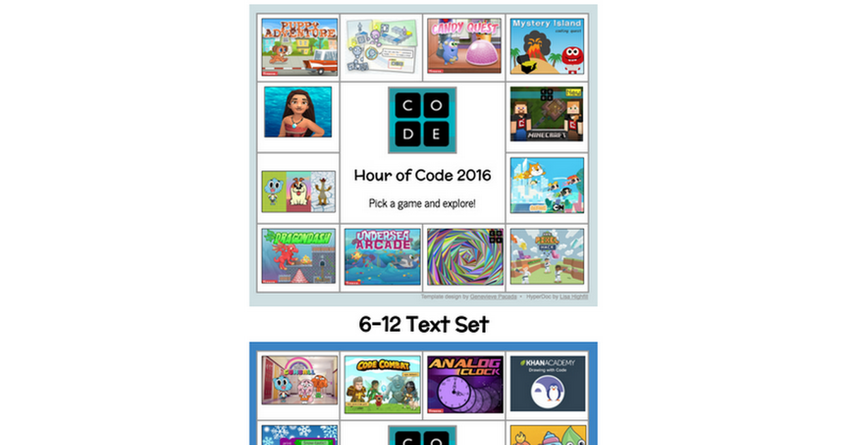 Hour of Code Text Sets 2016