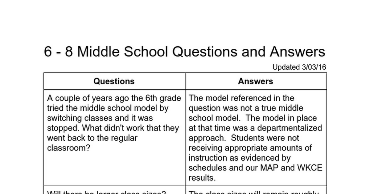 6 - 8 Middle School Questions and Answers