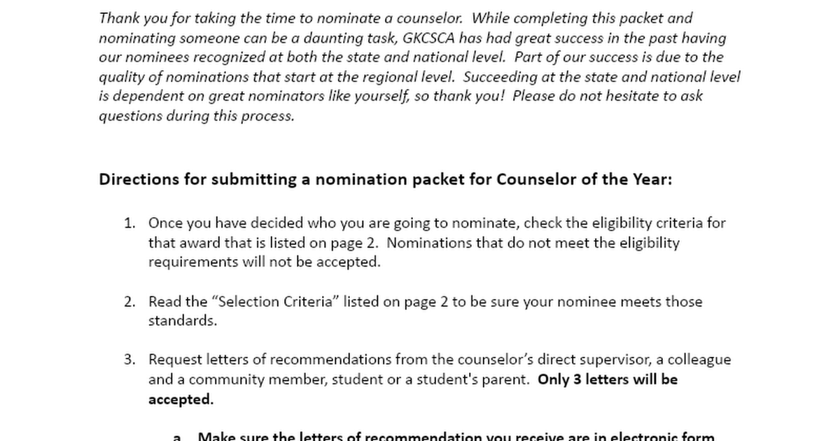 Counselor of the Year Nomination Packet 2020-2021