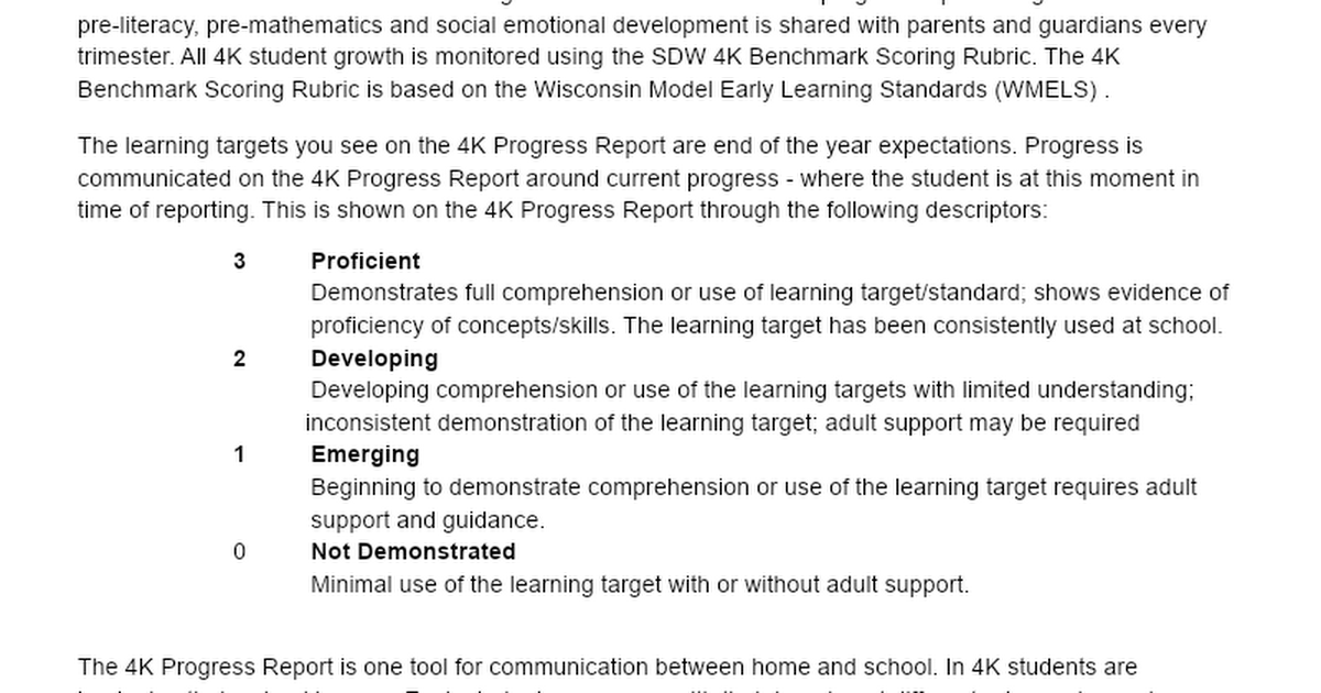 4K Progress Reports Parent Letter 2020-2021