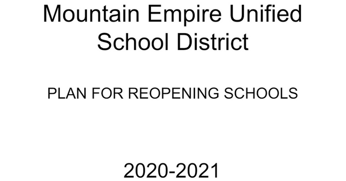 MEUSD Plan for Reopening Schools 2020-21