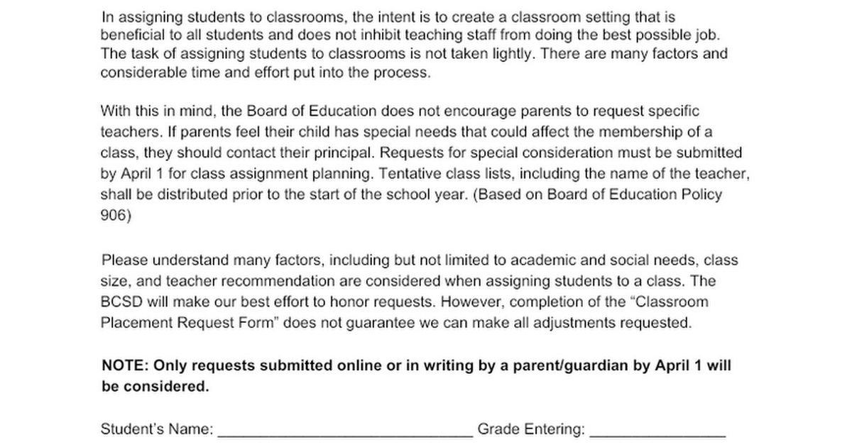 Request for Consideration of Classroom Placement