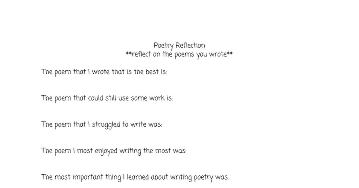 Poetry reflection/analysis