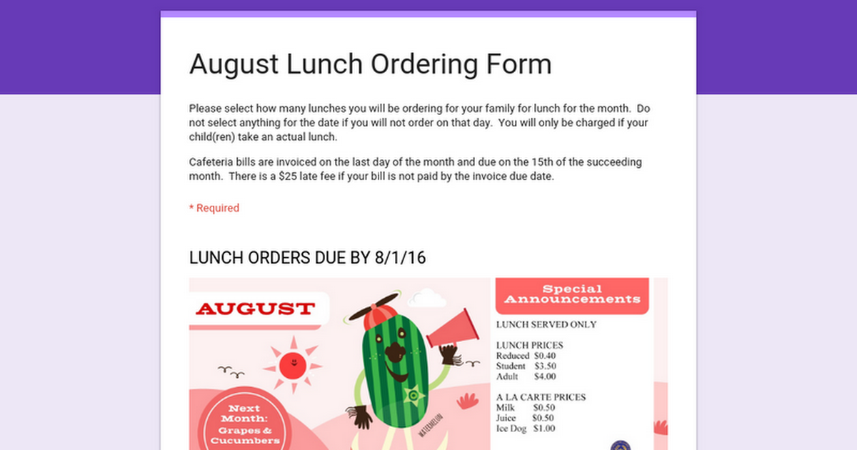 August Lunch Ordering Form