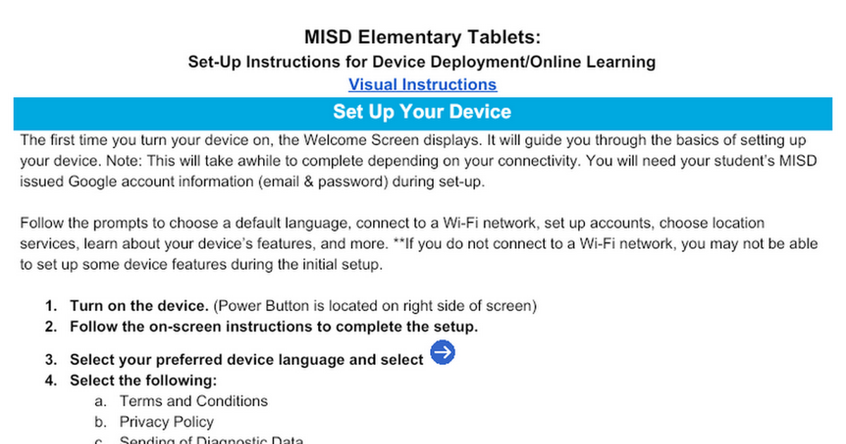MISD ElementaryTablets: Set-Up Instructions for Device Deployment/Online Learning