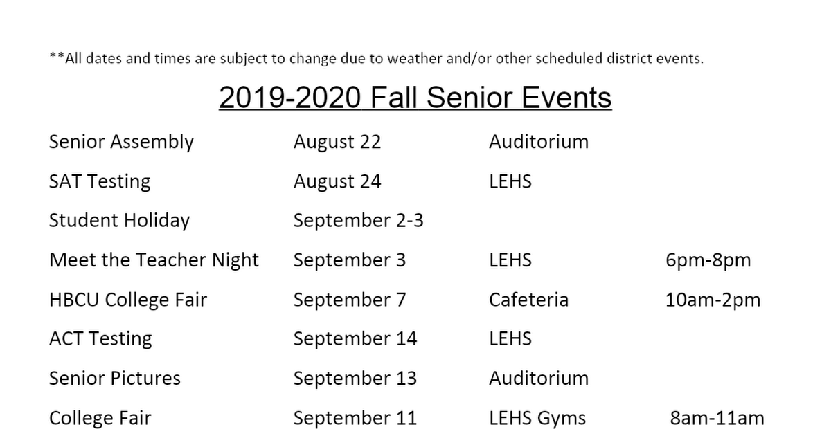2019-2020 Fall Senior Events.docx