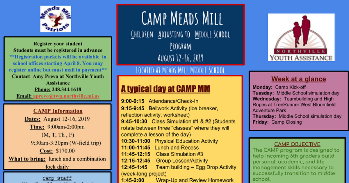 Camp Meads Mill flyer 2019