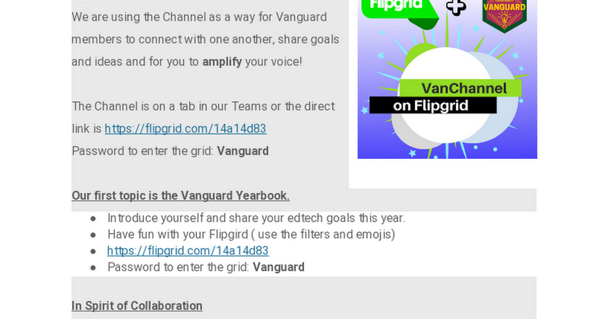 "Vanguard now has a channel on ""Flipgrid"" called the VanChannel"