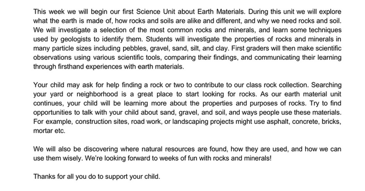 Earth Materials Parent Letter