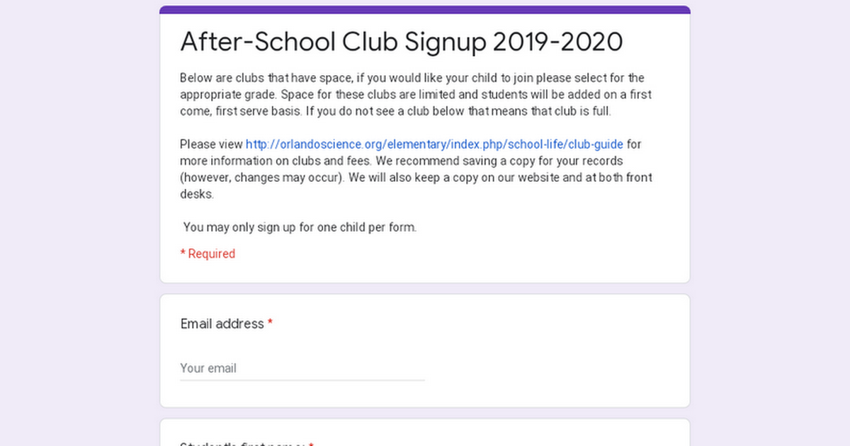 After-School Club Signup 2019-2020