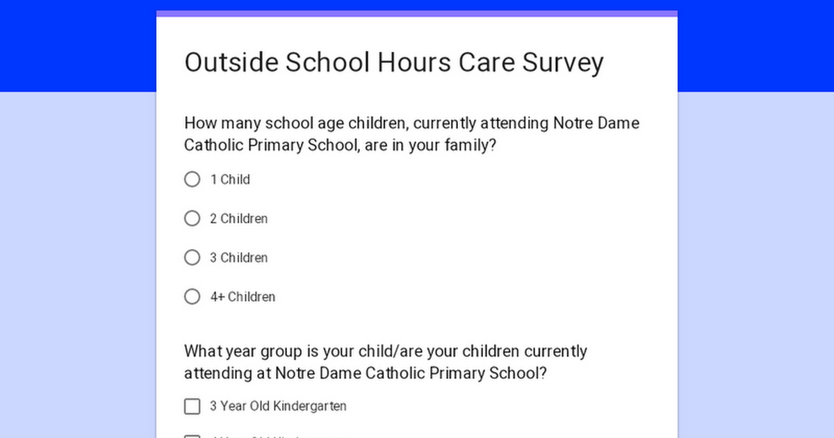 Outside School Hours Care Survey
