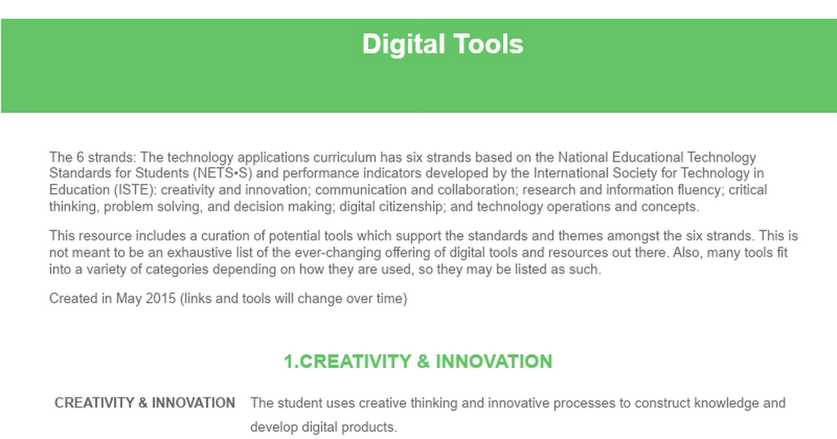 Digital Tools & Resources: By Strand