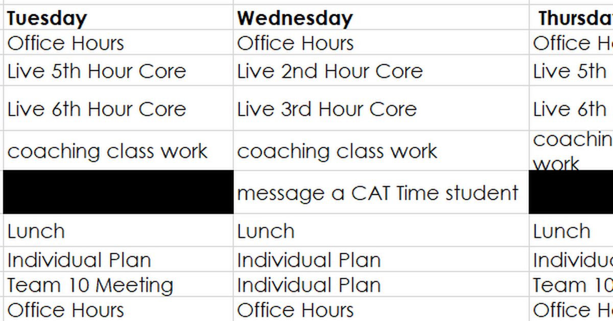 Janner's E-Learning schedule